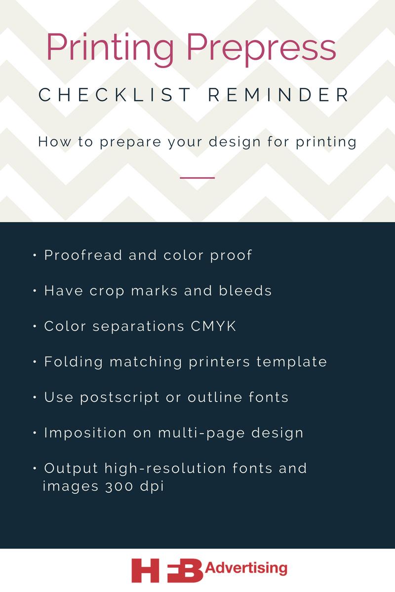 printing prepress checklist